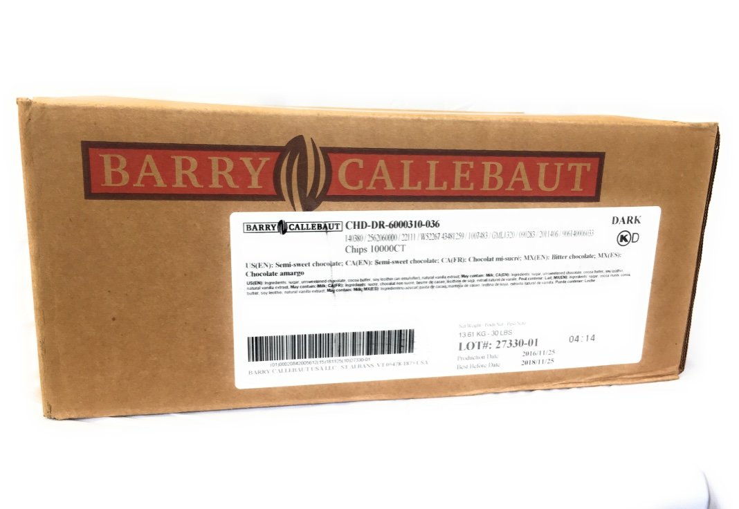 Callebaut 10,000 count/ Lb Semi-Sweet Chocolate Chips (Soft Bake) 45% Total Cocoa 26% Total Fat natural flavor Non GM 30 Lb