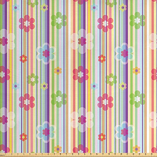 Outdoor Quilt Patterns (Lunarable Striped Fabric by the Yard, Soft Colored Lines with Flower Pattern Geometric Design Abstract Modern Artwork, Decorative Fabric for Upholstery and Home Accents, Multicolor)