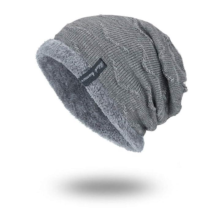 1dccd57140ae Quistal Bonnet Chapeau Tricot, Doublure en Polaire Hiver Homme Femme  Unisexe Chapeau Bonnet Chapeau de Mode en Plein air (Gris)  Amazon.fr   Vêtements et ...