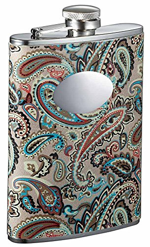 Visol Serenora Paisley Patterned Flask with Oval Engraving Plate, 8-Ounce, Silver