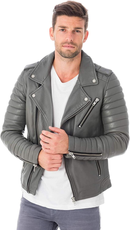 SkinBazar Mens Leather Jackets Motorcycle Bomber Biker Real Leather Jacket 22