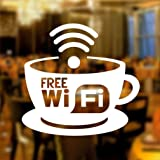 Free WIFI Cup Window Sign Vinyl Sticker Graphics Cafe Shop Salon Bar Restaurant by Wall4stickers
