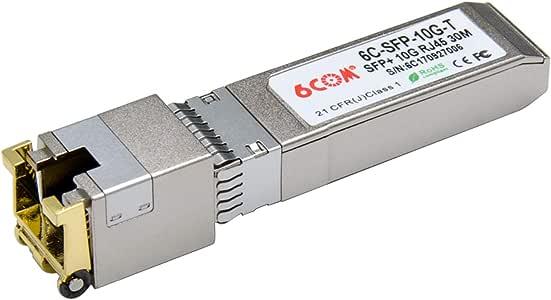 6COM for Cisco SFP-10G-SR, 10Gb/s SFP+ Transceiver Module, 10GBASE-SR, MMF, 850nm, 300m Silver for Cisco 10GBase-T:30m