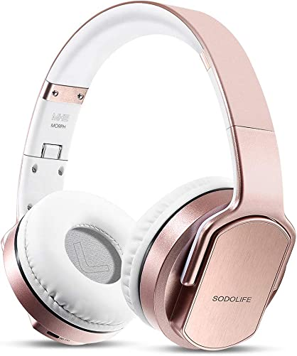 Wireless Headphones Speakers 2 in 1, SODOLIFE HiFi Stereo V5.0 Bluetooth Headphones Over Ear, Foldable Girl Headset with Mic, Support TF Card FM Radio Wired Mode for Travel Cellphones PC TV Rose Gold