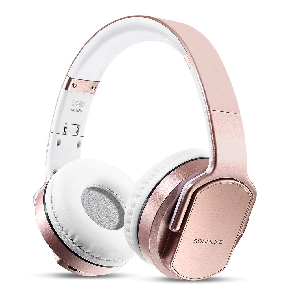 Wireless Headphones Speaker 2 in 1, SODOLIFE Foldable HiFi Stereo Bluetooth Headphones Over Ear with Mic, Support TF Card, FM Radio, Wired Mode for Travel Cellphones PC TV(Rose Gold)