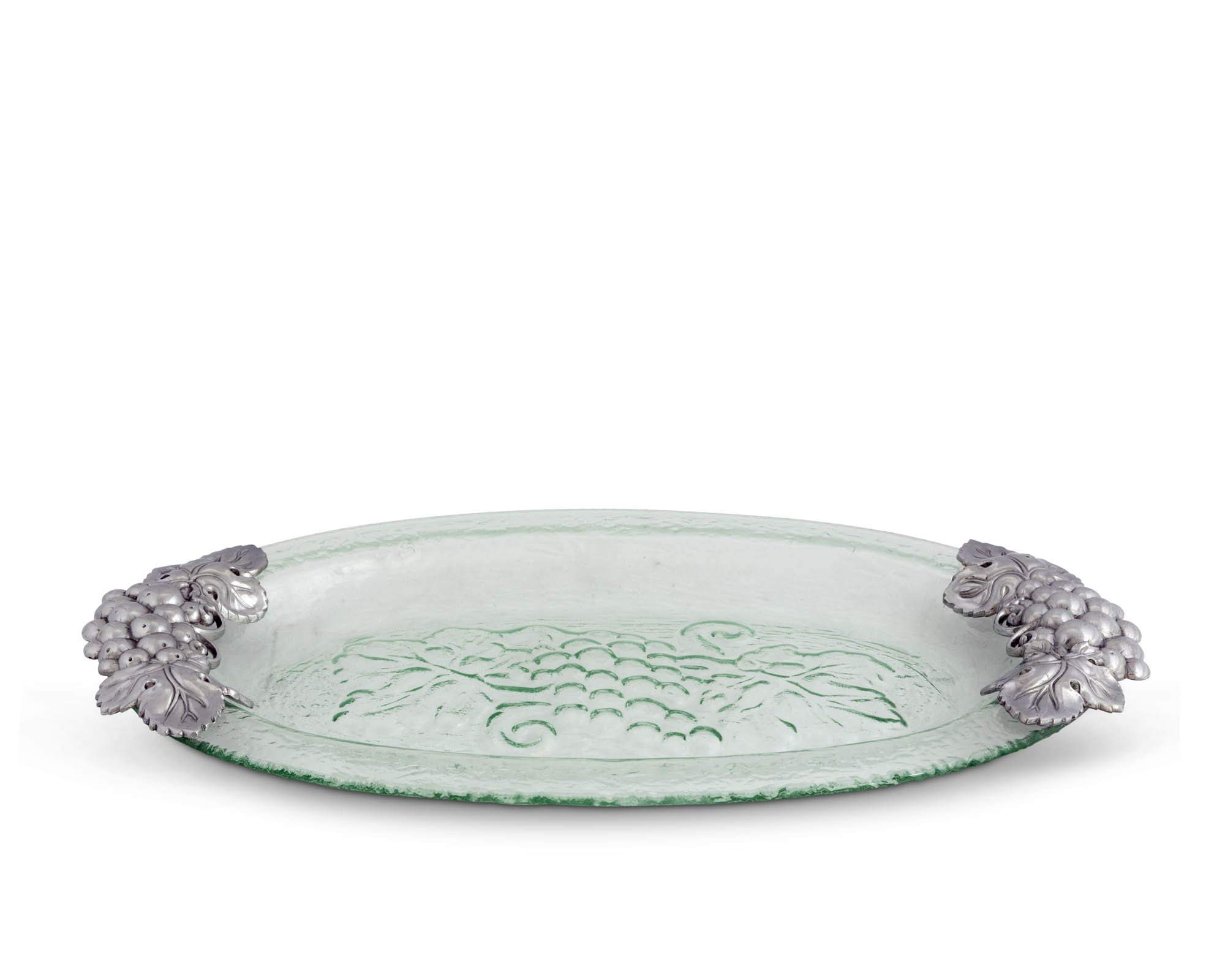 Arthur Court Grape Glass and Metal Oval Platter, 20-Inch