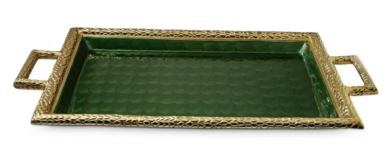 Julia Knight 7245355 Florentine Gold Handled Tray One Size Emerald