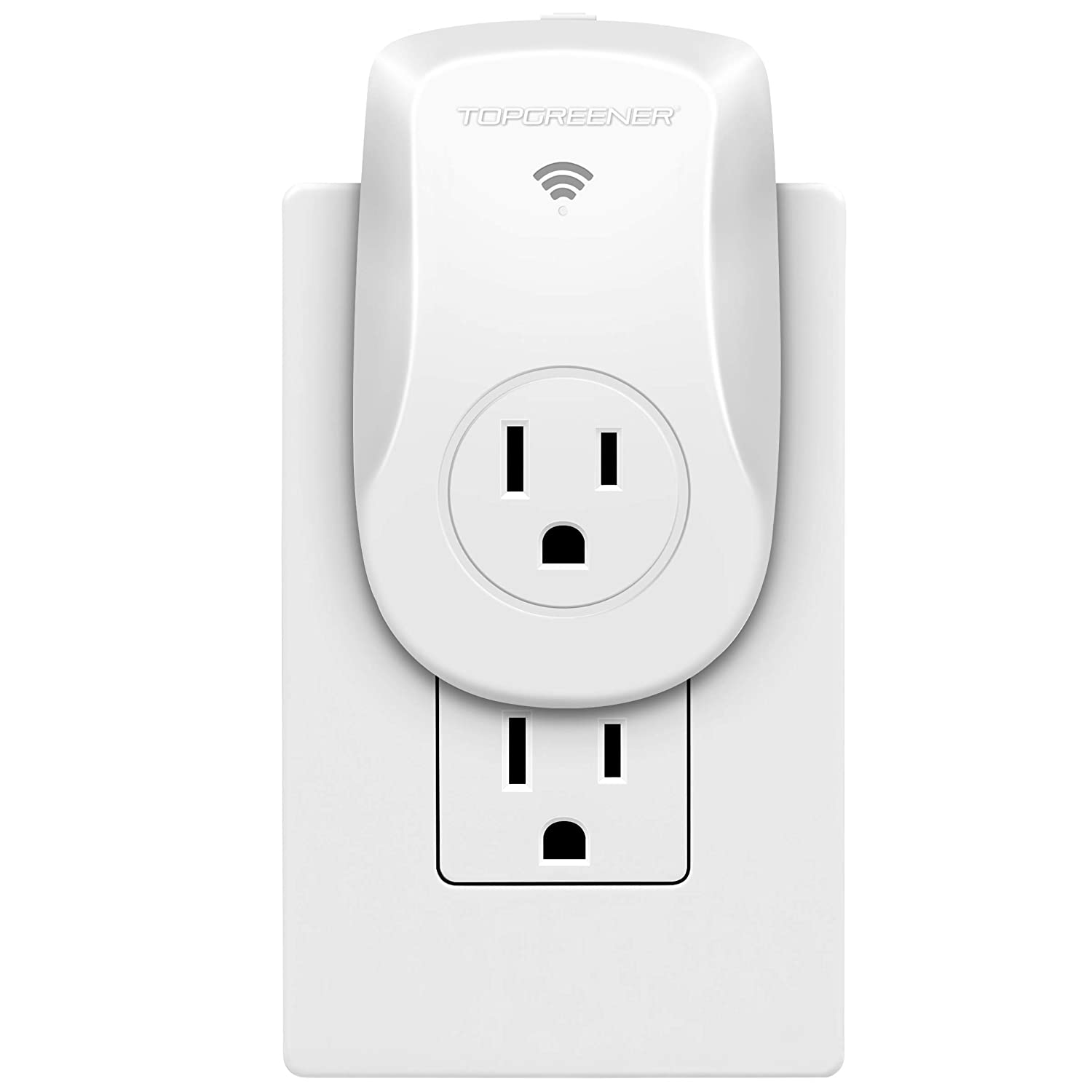 TOPGREENER TGWF115APM Wi-Fi Powerful Plug with Energy Monitoring, Smart Outlet, 15A, Control Lights and Appliances from Anywhere, No Hub Required, White, Works with Amazon Alexa and Google Assistant