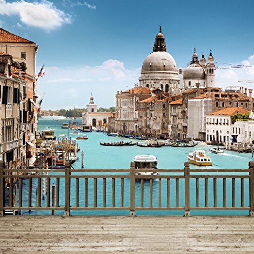 Canal Grande Venice (Venice Grand Canal Scene Photography Backdrop with Wooden Fence Floor Church Building Italy Scenic Booth Background for Photo Studio 10×10 ft)