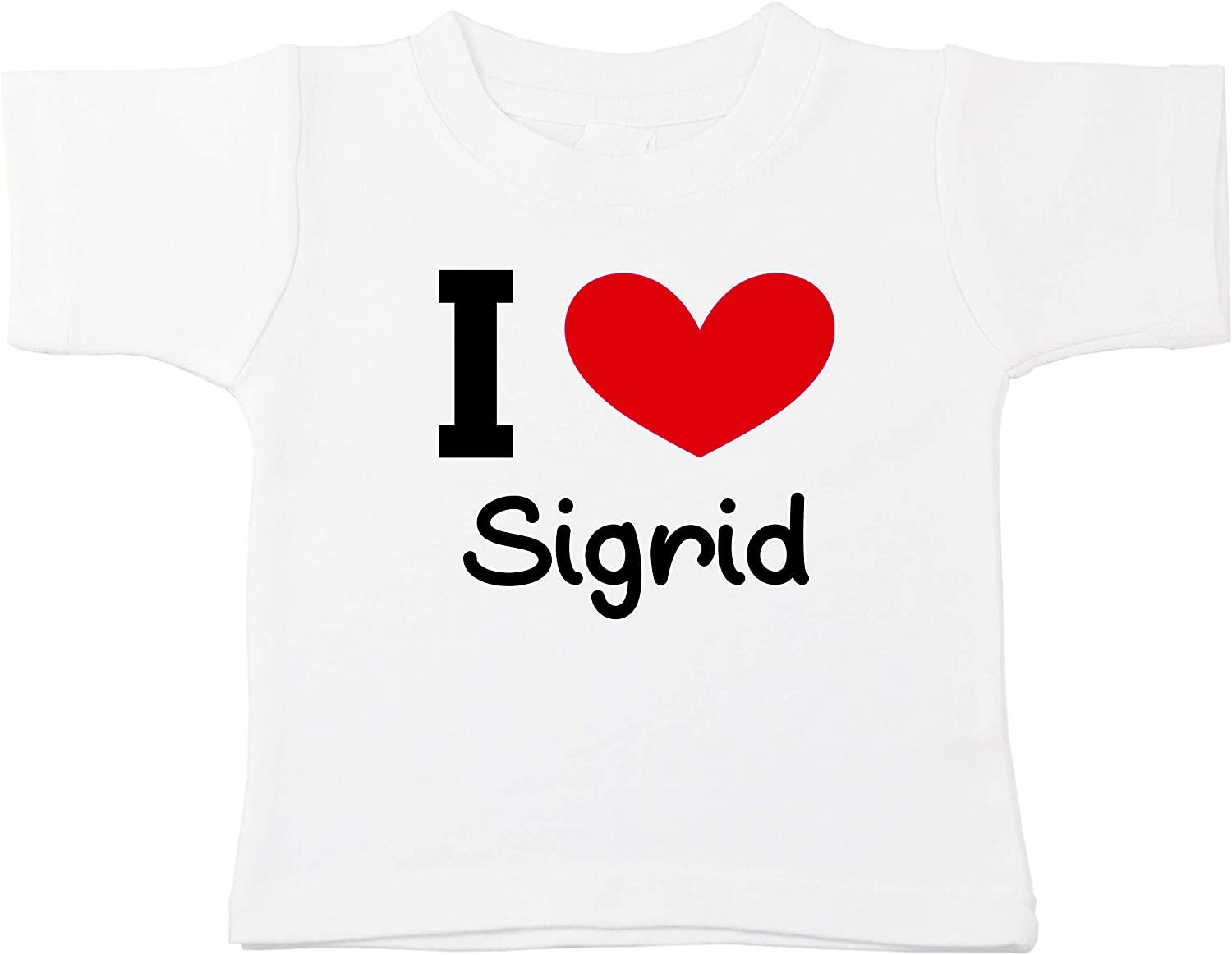 Kinacle I Love Sigrid Personalized Baby//Toddler T-Shirt