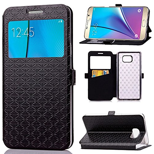 Ultra Flip PU Leather Case For Samsung Galaxy Note 5 (Black) - 2