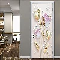 Fadesoue 3D-deursticker zelfklevende poster DIY waterdicht deurbehang - eenvoudige mode edele plantenbloemen 90x200cm…