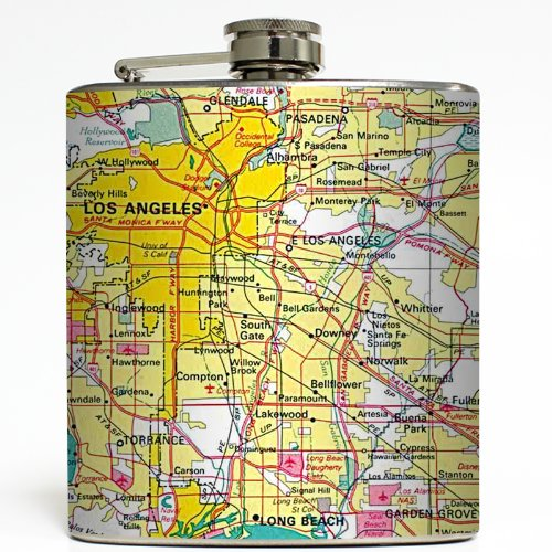 Hollywood Blvd - Liquid Courage Flasks - 6 oz. Stainless Steel - Hollywood Map Of Blvd