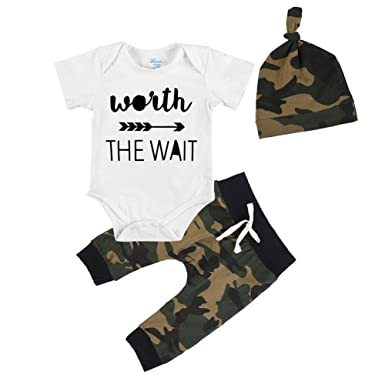 24e8a2361bd1 BAOBAOLAI Baby Boys Clothes Set Worth The Wait Romper Top Camouflage Pants  with Hat Outfits Set