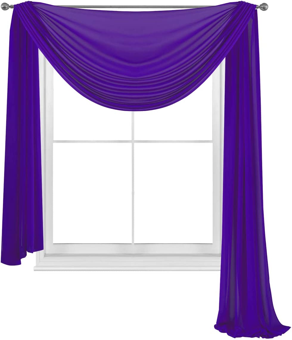 """WPM WORLD PRODUCTS MART Elegance Sheer Voile Window Curtain Scarf Fully Stitched and Hemmed Valance 216'' Inch Long (Purple, 38"""" Inch x 216"""" Inch)"""