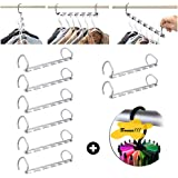 Metal Magic Clothes Closet Hangers Hook Clothing Organizer + Bonus 360 Degree Rotating Twirl Tie Rack Adjustable Tie Belt Scarf Hanger Holder Hook Saver Clothing Hanger (8 Packs + Tie hooks)