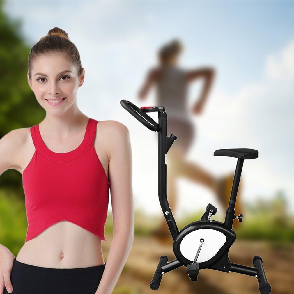 MJS Bicicleta Estática Plegable, Bicicleta de Fitness, Unisex, Elíptica ergometre Fitness Cardio Gym con Ordenador de Entrenamiento, Negro: Amazon.es: ...