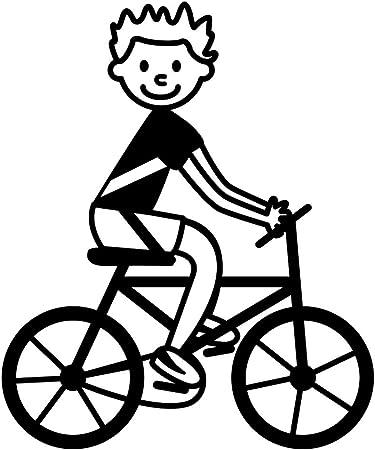 Pegatinas de familia - Niño en bicicleta.Orientación espejada, tamaño X-grande (110 x 131 mm.), color naranja. Cat.: 413.317: Amazon.es: Hogar