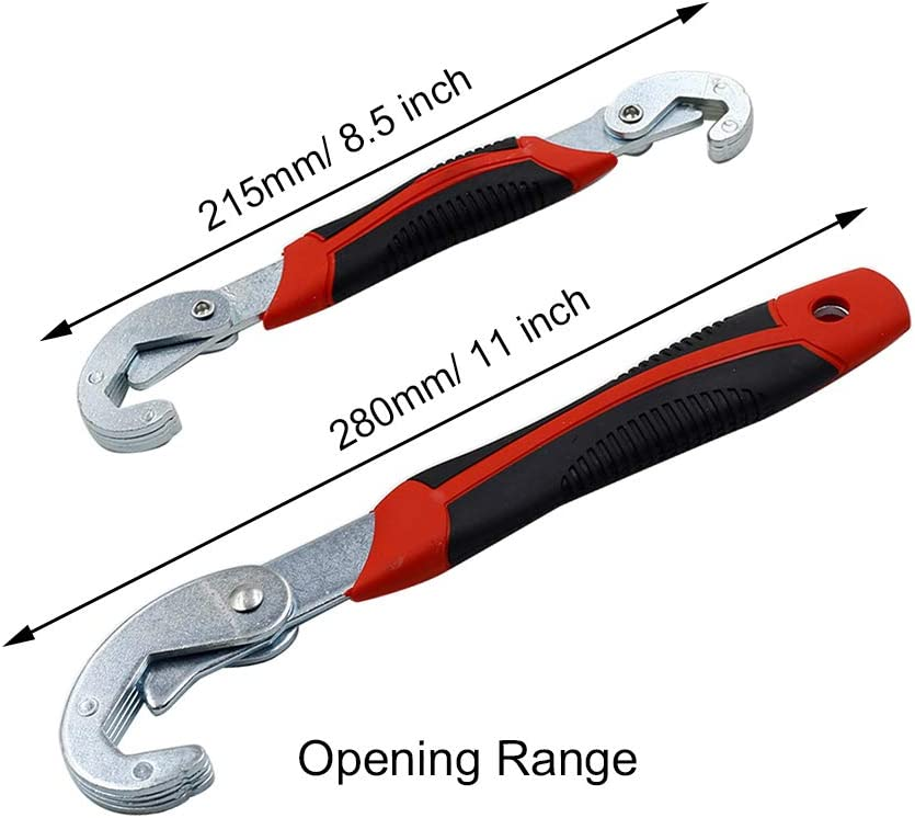 Qjaiune 2Pcs Universal Multi Function Wrench Spanner Set Portable Adjustable Quick SnapN Grip Spanner 6-32mm Hand Tool Kit