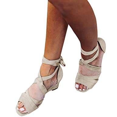 148897e8b60c Image Unavailable. Image not available for. Color  LAICIGO Womens Lace Up  Ankle Straps Mid Wedge Sandals Open Toe ...