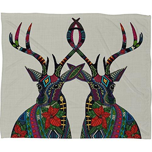 Deny Designs Sharon Turner Poinsettia Deer Fleece Throw Blanket, 50 x 60 (Poinsettia Deer)