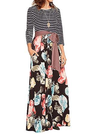 c980fe4094d Makkrom Womens Maxi Dresses 3 4 Sleeve High Waist Floral Pleated Long Dress  Belt at Amazon Women s Clothing store