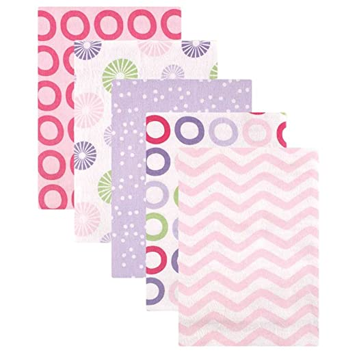 Luvable Friends 5 Pack Flannel Receiving Blankets, Pink Pinwheel