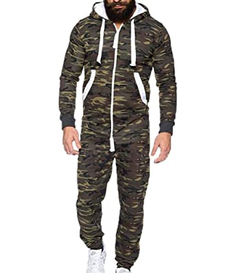 08a9c624f huateng Men s Overall Onesie Hooded Jumpsuit  Amazon.co.uk  Clothing