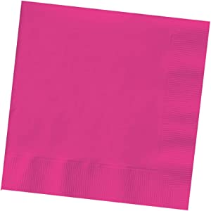 50-Count Touch of Color 3-Ply Paper Beverage Napkins, Hot Magenta
