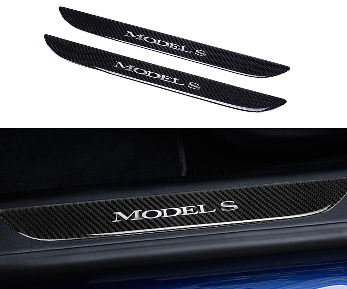 Amazon com topdall car door sill protection cover anti scratch real carbon fiber stickers with polyurethane for tesla model s2 pieces automotive