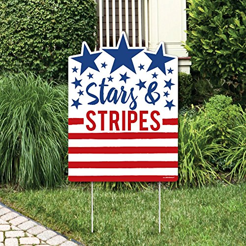 Big Dot of Happiness Stars and Stripes - Party Decorations - Labor Day USA Patriotic Party Welcome Yard Sign
