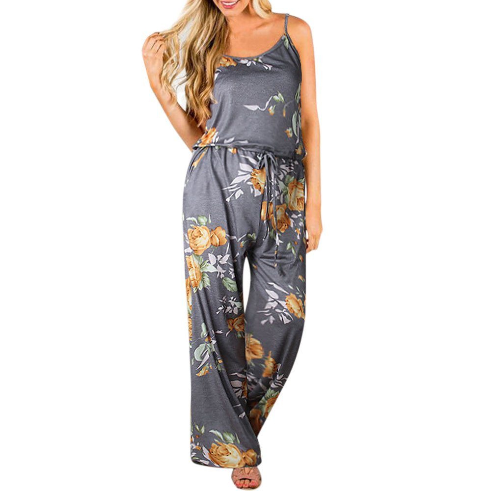 〓COOlCCI〓Women's Floral Printed Jumpsuits Solid Rompers Casual Comfy Striped Jumpsuit Yellow
