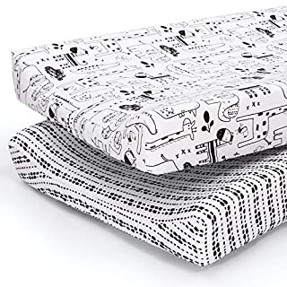 The Peanutshell Baby Changing Pad Covers for Boys or Girls | Black & White 2 Pack Set | Zoo Animals & Tribal Stripes