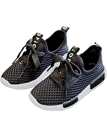 e05865a7 Daclay Zapatos niños Niñas Deportivo Transpirable Malla con Parte Superior  de Cuero cómoda Suave Cordones Zapatillas
