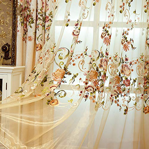 Delicate Embroidered Sheer Voile Window Curtains Rod Pocket Colorful Floral Gauze European Tulle Panel Draperies for Sliding Glass Door Living Room 39 Inch Wide by 84 Inch Long 1 Panel AiFish ()