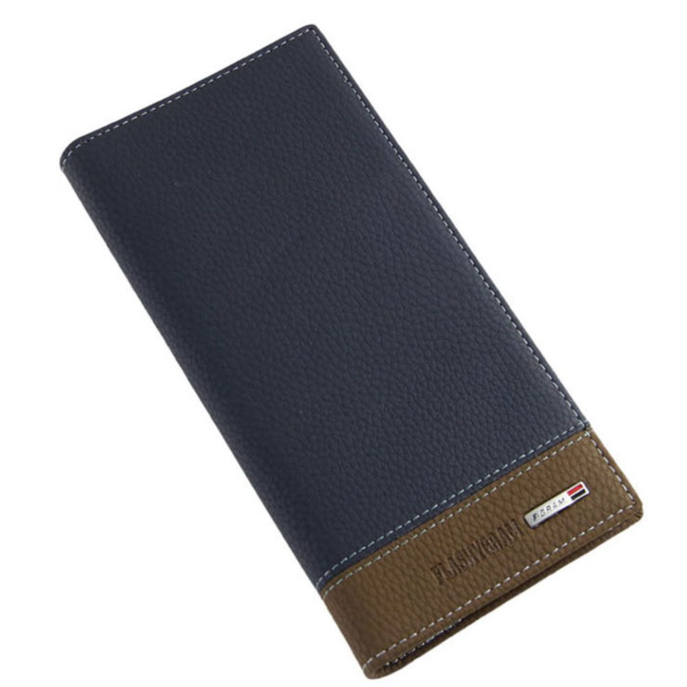BININBOX Mens Business Long Leather Bifold Card Holder Purse Clutch Wallet Money Clip 4 Colors Blue