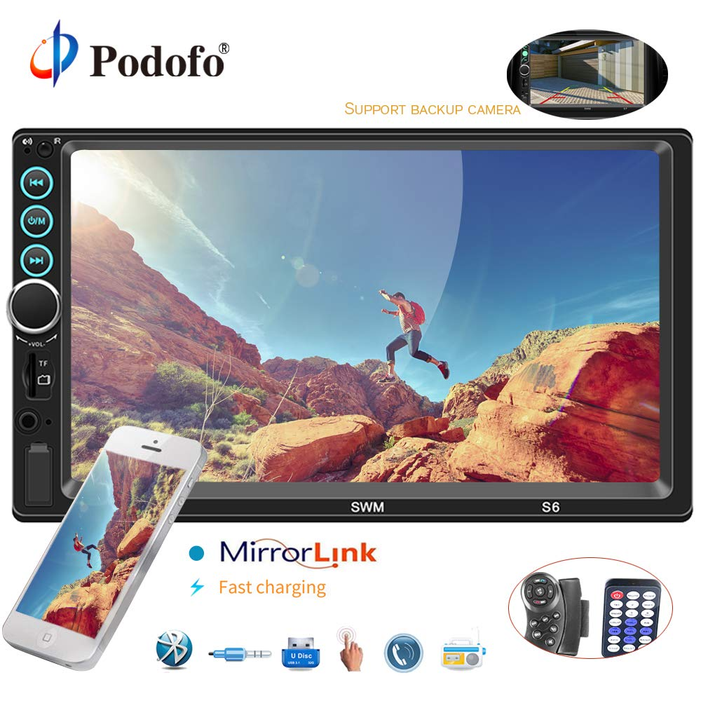 Podofo Car Stereo 2 Din Car Radio with Reversing Camera Audio Bluetooth 7' Touch Screen Autoradio MP5 Player TF USB FM Radio Auto Media Player with IOS/Android Mirror Link