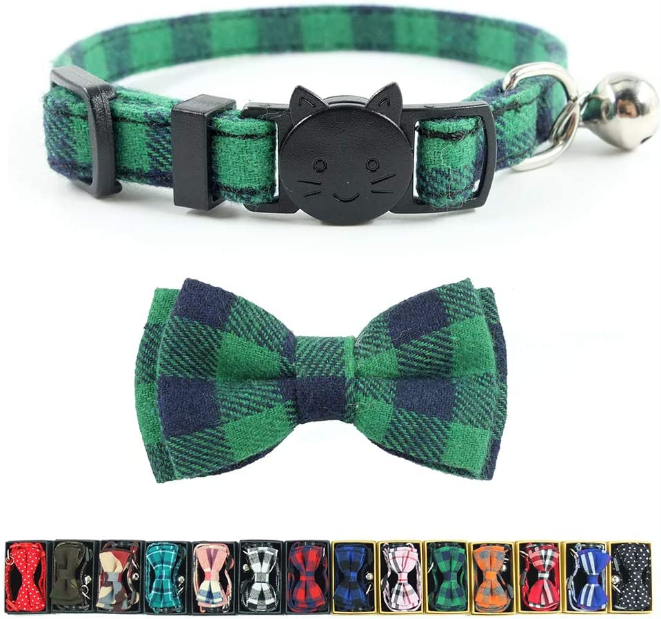 Cat Collar Breakaway with Bell and Bow Tie, Plaid Design Adjustable Safety Kitty Kitten Collars(6.8-10.8in)