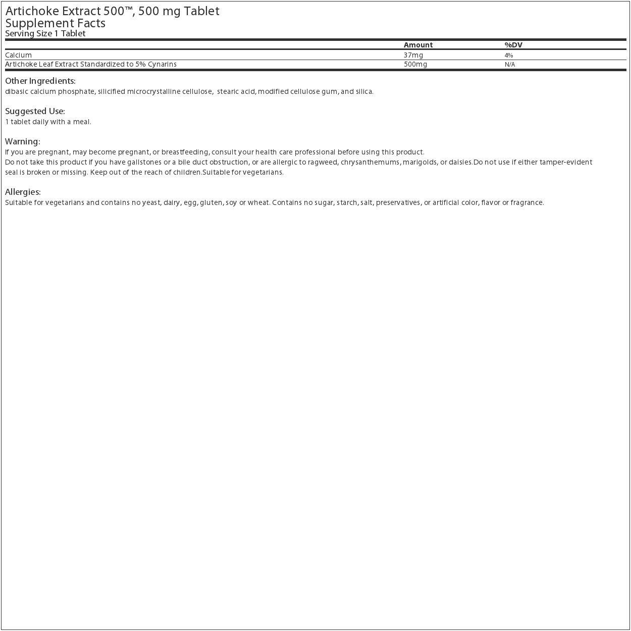 Source Naturals - Artichoke Extract 500 mg. - 180 Tablets
