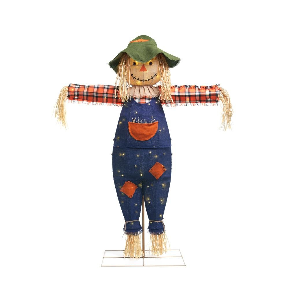 Home Accents 72 in. Burlap Scarecrow 80 LED Light Decor Halloween Prop