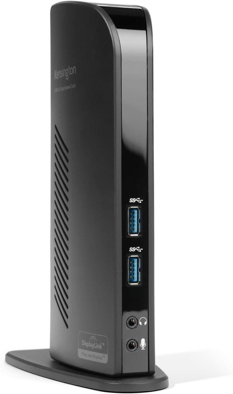 Kensington K33972EU (Sd3500V) - USB 3.0 Dual Estación de Docking para Portátil con Hdmi, Salidas Dvi (Incluye Adaptadores Dvi-Vga + Dvi Hdmi), 6 Puertos USB (2 USB 3.0 + 4 USB 2.0)