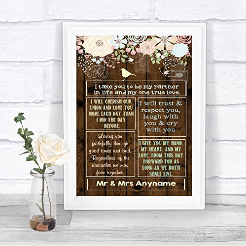 Rustic Wood Effect Romantic Vows Personalized Wedding Sign by The Card Zoo (Image #2)
