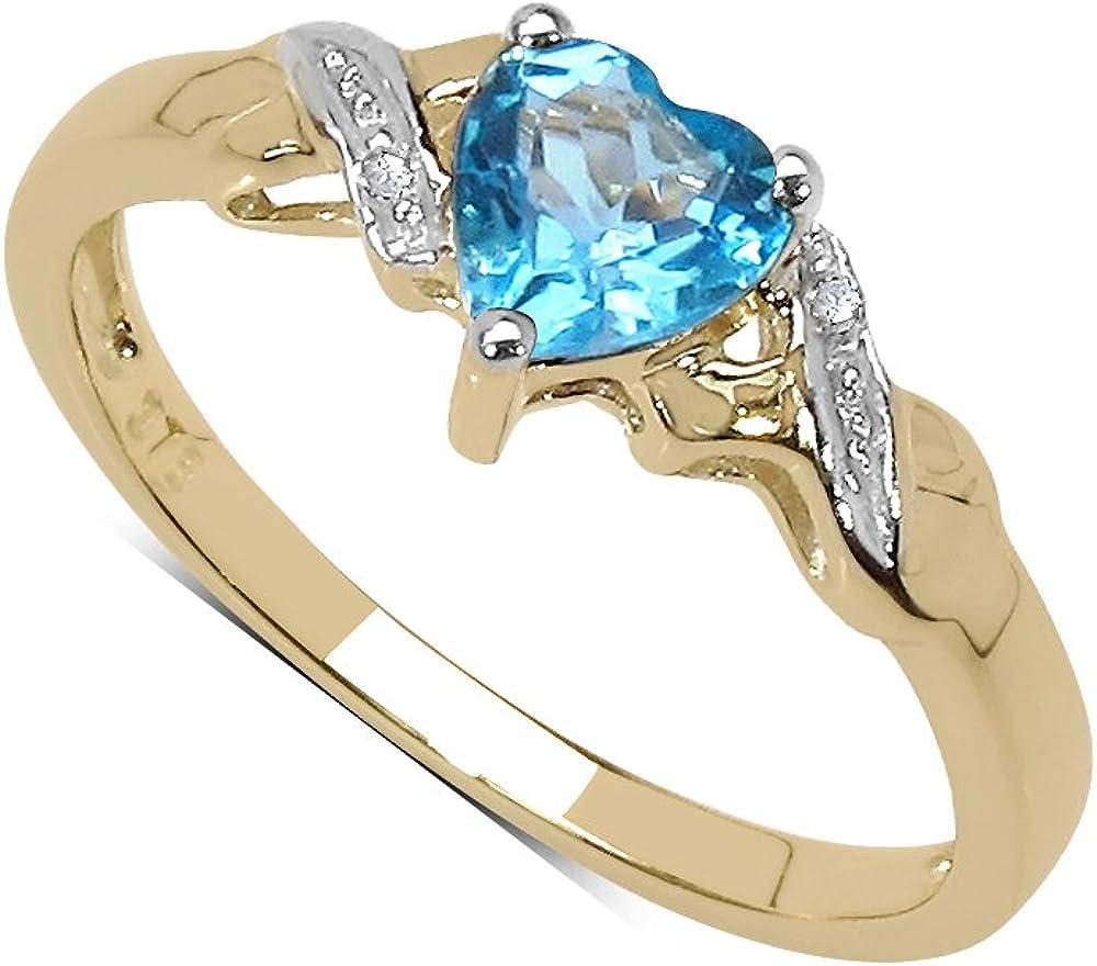 La Colección Anillo de Topacio: Anillo Oro de 9ct con forma corazón de Topacio Azul y set de Diamantes, Anillo de compromiso, Perfecto para Regalo Tallas 6,8,9,10,11,12,13,15,16,17,19,20,21,22