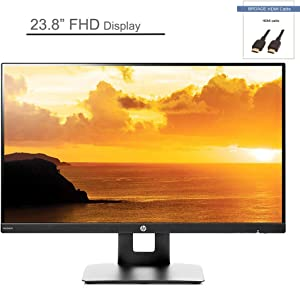 """2020 HP 1080p IPS LED Monitor with Built-in Speakers and VESA Mounting, 23.8"""" FHD Display, Rotating Portrait & Landscape, Tilt, and HDMI & VGA Ports, Black, BROAGE HDMI Cable 3ft"""