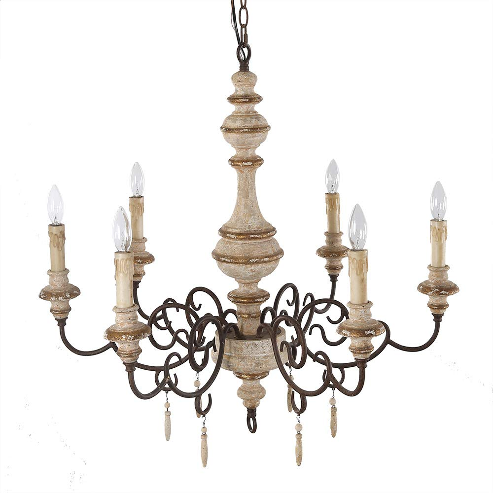 Amazon.com: LALUZ Lámpara de araña rústica con 6 luces ...