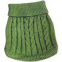 Tangpan Turtleneck Classic Straw-rope Pet Dog Sweater Apparel (Green, L)