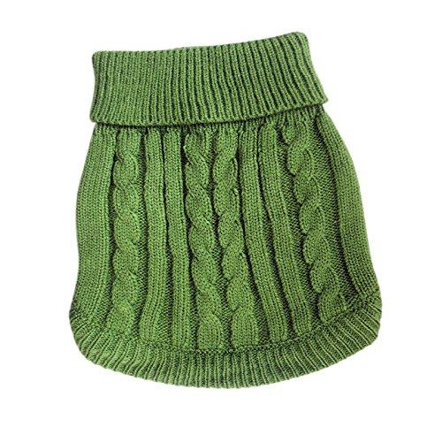 Tangpan Turtleneck Classic Straw-Rope Pet Dog Sweater Apparel (Green,M) ()