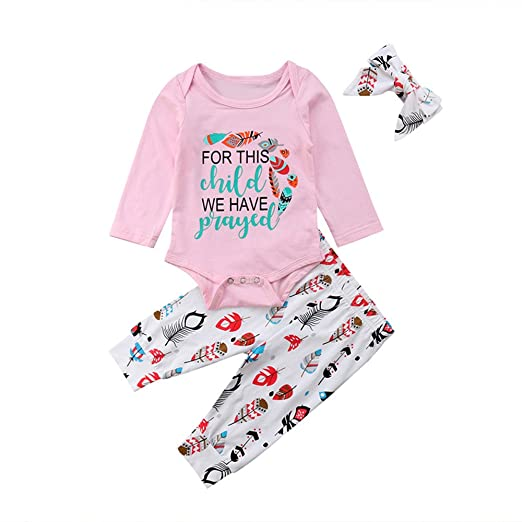 5bc3fcde35b Newborn Infant Baby Girl Clothes Sets Long Sleeve Pink Letter Romper  Feather Pants Bunny Headband Outfits