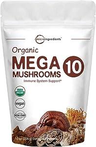 Sustainably US Grown, Organic Mega 10 Mushroom Complex Powder for Immune System Booster, 10 Ounce (284 Grams), Chaga Mushroom, Lions Mane, Turkey Tail, Cordyceps, Reishi Mushroom & More, Vegan