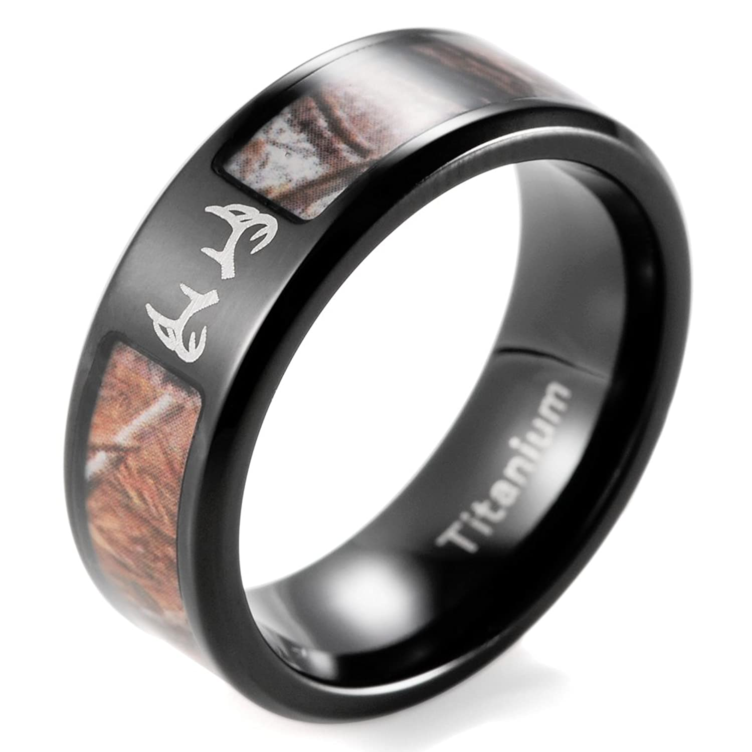 shardon mens 8mm ip black titanium tree camo ring with engraved deer antleramazoncom - Hunting Wedding Rings